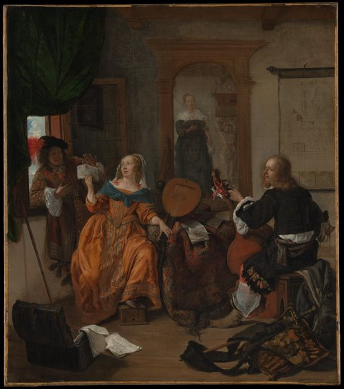 Women and Music in Painting 16-18th c, Gabriël Metsu, A Musical Party