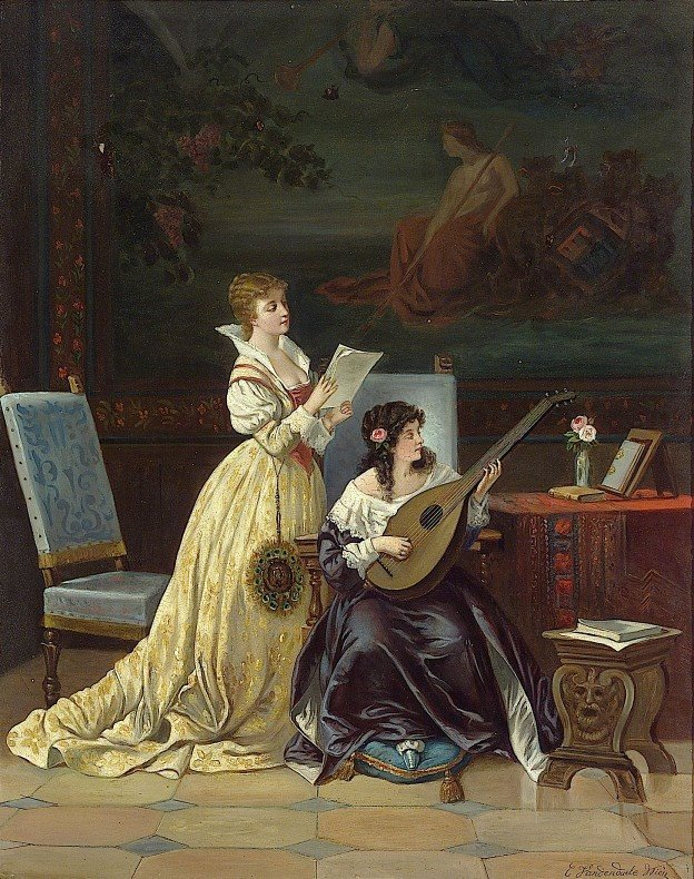 Women and Music in Painting 16-18th c, Casimir Van Den Daele Two Women Making Music