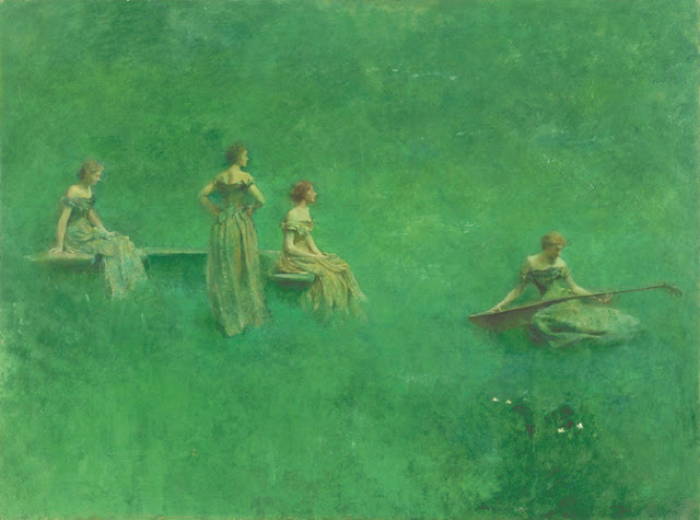 "Women and Music in Painting 16-18th c, Thomas Wilmer Dewing, ""The Lute"""