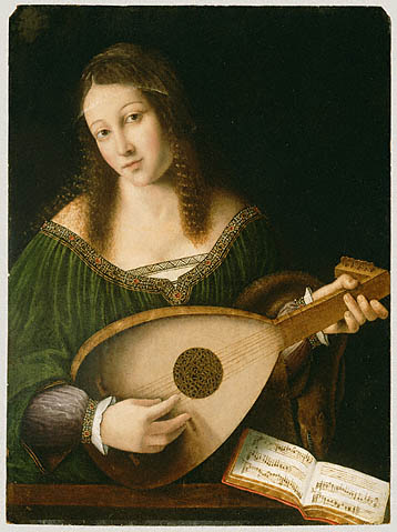 Women and Music in Painting 16-18th c,Bartolomeo Veneto, Lady Playing a Lute