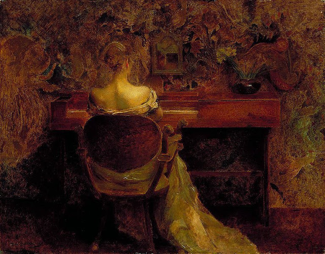Women and Music in Painting 16-18th c, Thomas Wilmer Dewing, The Spinet