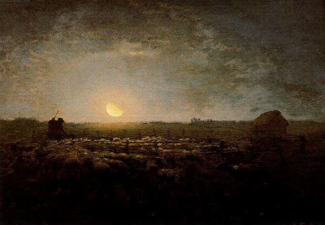 Painting by Jean François Millet,Landscape oil painting,figurative painting,moon in painting