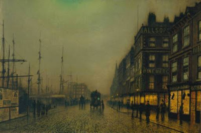 Painting by Atkinson Grimshaw,Landscape oil painting,figurative painting,moon in painting