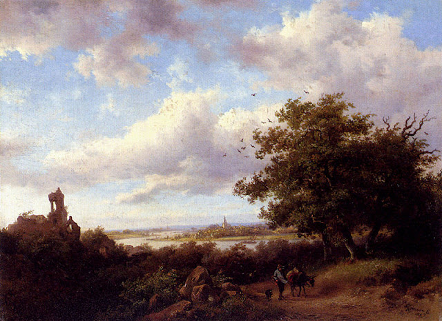 Fredrik Marinus Kruseman. A Blustery Summer Landscape, Summer Day in the Countryside. Summer Themed Oil Paintings
