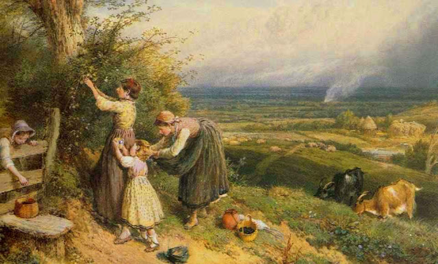 Myles Birket Foster. Picking Blackberries, Summer Day in the Countryside. Summer Themed Oil Paintings