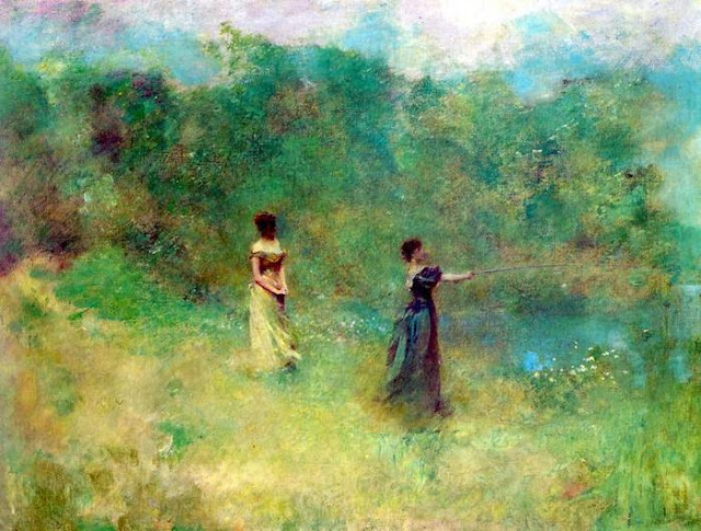 Thomas Vilmer Dewing. Summer, 1890,Summer Day in the Countryside. Summer Themed Oil Paintings