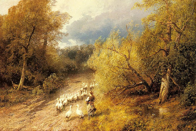Hermann Ottomar Herzog. Girl with Geese,Summer Day in the Countryside. Summer Themed Oil Paintings