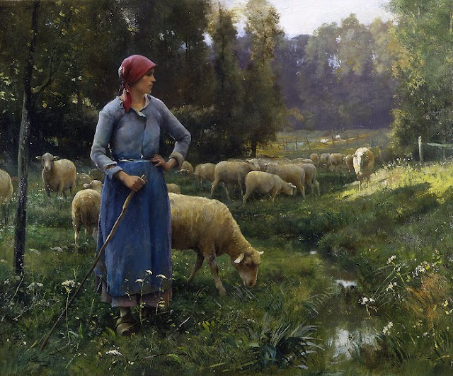 Artist: Julien Dupre. La Fermiere,A Summer Day in the Countryside. Summer Themed Oil Paintings