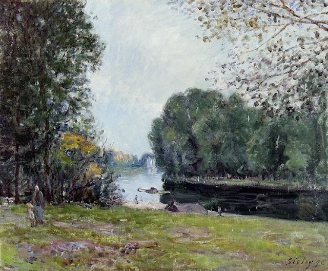 Alfred Sisley. The Turn of the Loing River,Summer Themed Oil Paintings