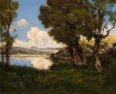 The Oil Painting of Henri Harpignies. Au Bord Du Lac