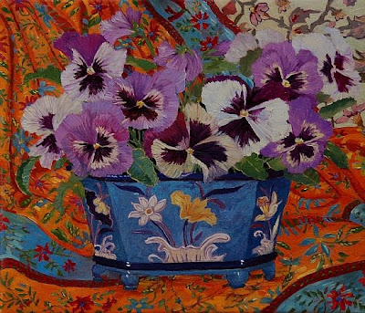 John Powell. Blue Vase and Pansies