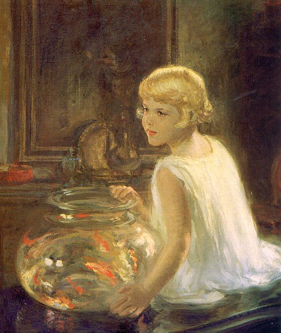 Henry Salem Hubbell painting, Goldfish in Painting