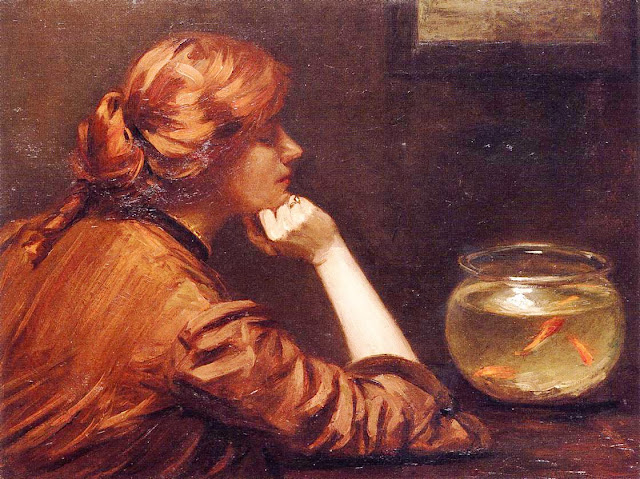Goldfish in Painting,Alexander John White, An Idle Moment
