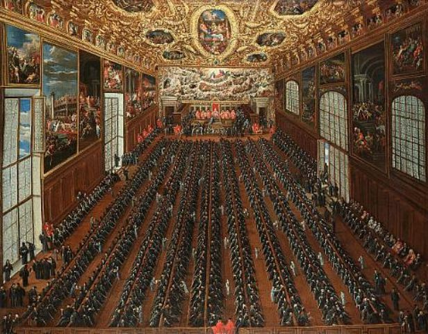 Joseph Heintz the Younger. The interior of the Sala Maggior Consiglio, The Doge's Palace, Venice