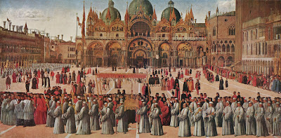 Oil Painting. Gentile Bellini. Procession of the True Cross 1496
