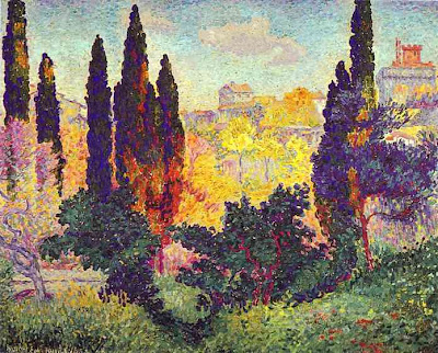 Henri Edmond Cross' Painting Cypress Trees at Cagnes
