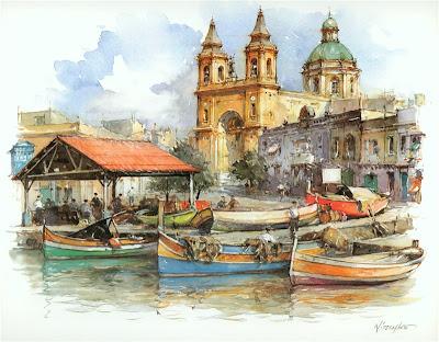 Detlev Nitschke. Watercolor. Marsakslok, Malta