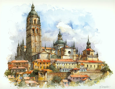 Detlev Nitschke. Watercolors. Segovia, Spain