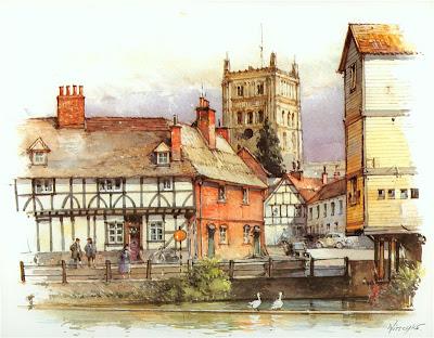 Detlev Nitschke. Watercolor. Tewkesbury, England