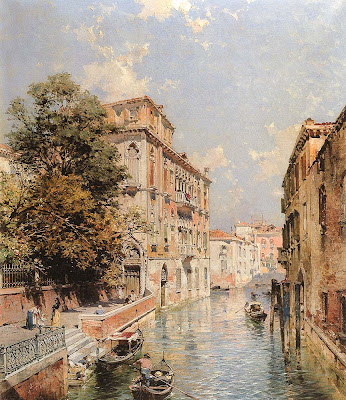 Franz Richard Unterberger. A View in Venice, Rio Santa Marina