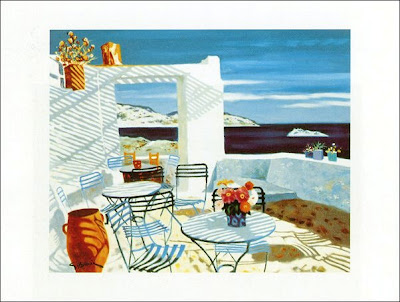 Oil Painting by French Artist Georges Blouin. Greek Cafe