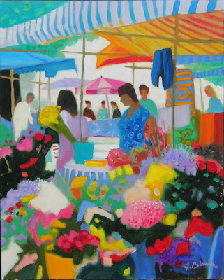 Oil Painting by Georges Blouin. Flower Sellers