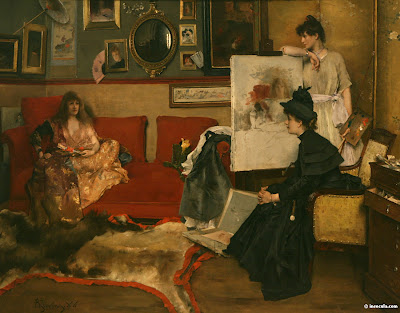 Japonisme. Paintings of Beautiful Women. Alfred Stevens. Artist and Model