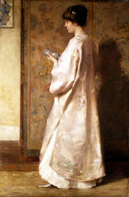 Japonisme. Paintings of Beautiful Women. John Munnoch. Chinese Coat