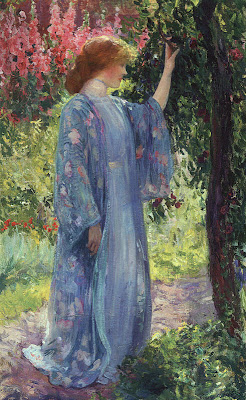 Japonisme. Paintings of Beautiful Women. Guy Rose. Blue Kimono