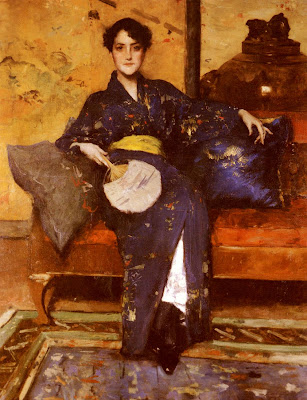 Japonisme. Paintings of Beautiful Women. William Merritt Chase. Blue Kimono
