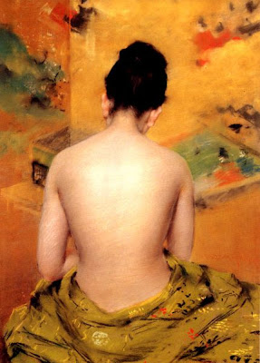 Japonisme. Paintings of Beautiful Women. William Merritt Chase. Back Of A Nude