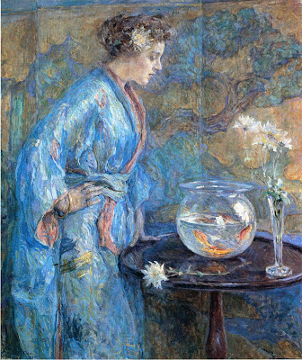 Japonisme. Paintings of Beautiful Women. Robert Reid. Girl in Blue Kimono