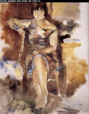 Jules Pascin. Lucy Wearing the Rose Dress