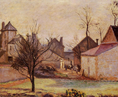 Landscape by Camille Pisarro. Farmyard in Pontoise, 1874