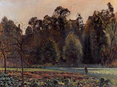 Camille Pisarro. The Cabbage Field, Pontoise, 1873. Landscape
