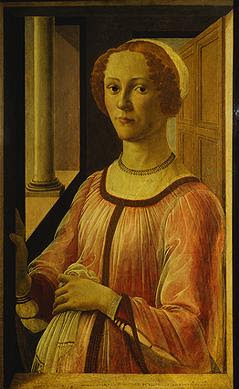 Portraits of  Women of Italian Renaissance. Sandro Botticelli. Woman at a Window Smeralda+Brandini