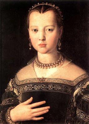 Portraits of  Women of Italian Renaissance. Agnolo Bronzino. Portrait of Maria de Medici
