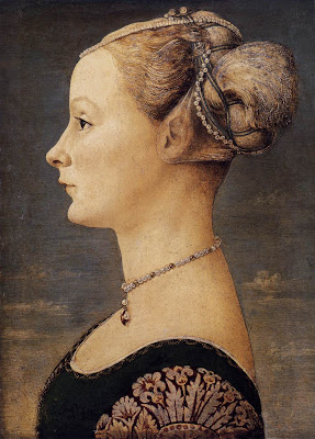 Portraits of  Women of Italian Renaissance. Antonio del Pollaiuolo. Portrait of a Girl, 1467-70