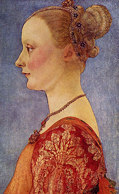 Portraits of  Women of Italian Renaissance. Antonio Pollaiuolo. Portrait of a Young Lady