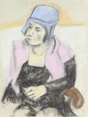 Georg Tappert. Lady in a Blue Hat
