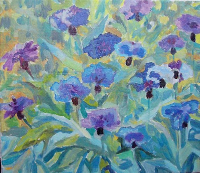 Russian Artist Ekaterina Reutova. Cornflowers