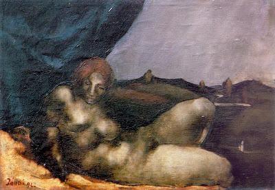 Jándi Dávid, Hungarian Artist. Reclining Nude, 1922, oil