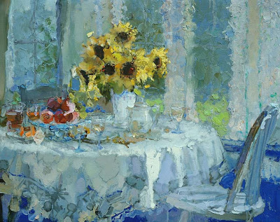 Painting by Zhang Jing Sheng. Sunflowers on Dining Table