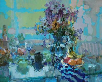 Painting by Zhang Jing Sheng. Purple Lilac