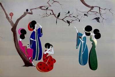 Hayv Kahraman's Paintings. Bird Watchers