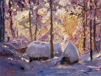 Paintings by Russin Artist Oleg Trofimov. In Winter Forest