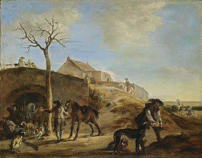 Dirck Willemsz Stoop. Landscape with Huntsmen