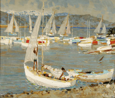 Seascape Painting by Pierre Emile Lelong. The Boats