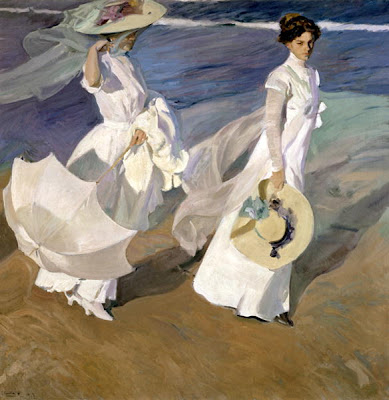 Seascape Painting by Joaquin Sorolla y Bastida. Strolling along the Seashore