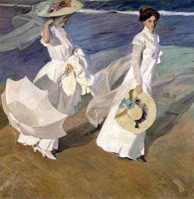 Seascape Painting by Joaquin Sorolla y Bastida. Strolling along the Seashore